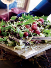 Radicchio, Endive & Spicy Lettuce Salad with Roasted Grapes