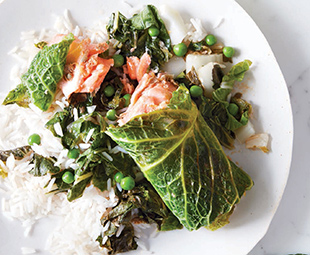 Savoy Salmon with Caper Butter, Bok Choy & Peas