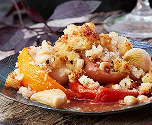 Savoury Tomato & Onion Crumble with Ontario Hazelnuts, Pine Nuts & Buttery Panko Crust