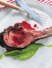 Spice-Ash-Crusted Rack of Venison with Stinging Nettle & Wild Mint-Scented Pea Purée and Red Wine Glaze