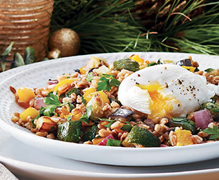 Farro with Roasted Vegetables & Poached Eggs