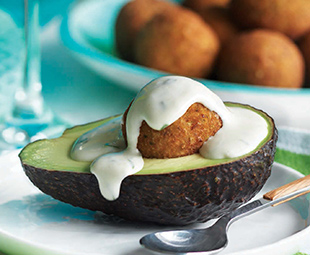 Avocado with Falafel & Tahini Sauce