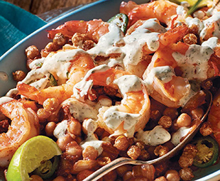 Shrimp with Chickpeas & Lime Crema