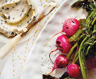 Grilled Radishes with Caviar Butter