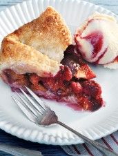 Fresh Fig and Raspberry Galette with Raspberry Swirl Ice Cream