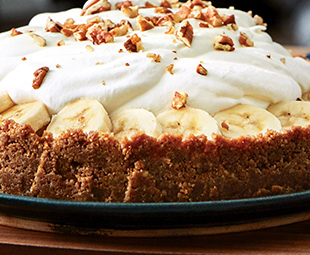 Banana & Toffee Pie with Pecan Crust