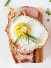 Steak Crostini with Fried Quail Eggs & Tarragon