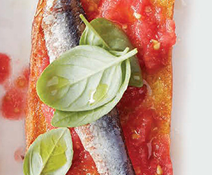 Pan Con Tomate Crostini with Anchovies & Basil