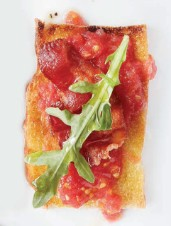 Pan Con Tomate Crostini with Bacon & Arugula