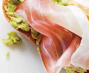 Crushed Pea Crostini with Westphalian Ham