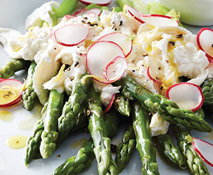 Spring Salad with Asparagus, Radish & Burrata Cheese