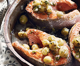 Salmon Chops with Gooseberry Relish