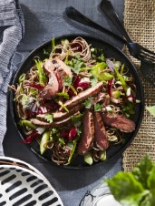 Japanese Noodle and Vegetable Salad with Flank Steak