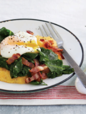 Poached Eggs, Miso Grits, Collards & Bacon