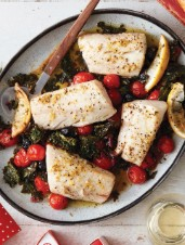 Garlic-Lemon Baked Cod with Kale, Tomatoes & Olives