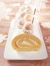 Coconut and Passion‑Fruit Roulade with Coconut Cookies