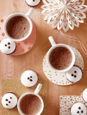 Foamy Hot Chocolate with Peppermint Marshmallow Cookies