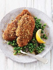 Quinoa-Crusted Pork Cutlets with Peas & Mint