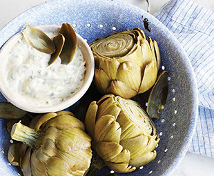 Steamed Artichokes with Herbed Goat Cheese Dip