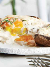 Baked Eggs in Mushroom Caps with Mornay Sauce