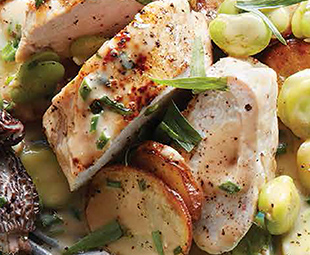 Pan-Roasted Chicken Breast with New Potatoes, Fava Beans & Morels