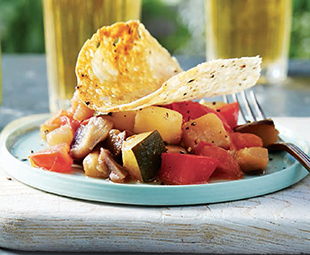 Peppery Parmesan Tuiles with Summer Ratatouille