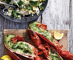 Cedar-Plank Lobster with Grilled Corn & Shaved Fennel Salad