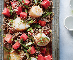 Cold Soba Noodles, Watermelon & Bay Scallops with Miso-Soy-Sesame Vinaigrette