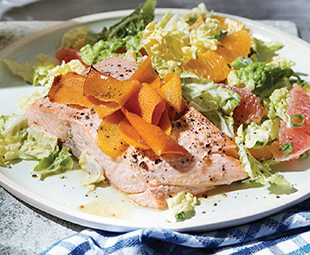 Seared Salmon with Citrus Slaw