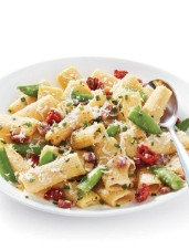 Summer Carbonara with Sugar Snaps & Slow-Roasted Grape Tomatoes