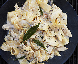Grilled Chicken Fettuccine in Creamy White-Wine Sage Sauce