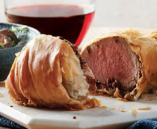Phyllo-Wrapped Herbed Pork Tenderloin with Mushrooms
