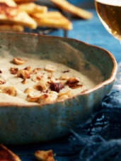 Warm Blue Cheese & Hazelnut Dip with Apricot Pan Bread