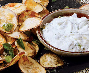 Eggplant Chips with Tzatziki