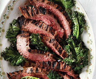 Late-Harvest Wine-Marinated Steak with Grilled Greens