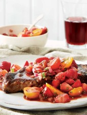 Steak with Strawberry, Cherry Tomato, Black Pepper & Balsamic Salsa