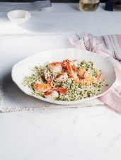 Shirataki Noodles with Coriander Pesto and Pan-Seared Shrimp