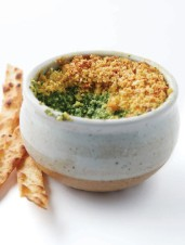 Honey Brown Lager-Spiked Warm Curried Spinach & Ricotta Dip with Crunchy Panko Topping