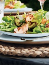 Cedar-Planked Maple Trout Salad with Grilled Avocado