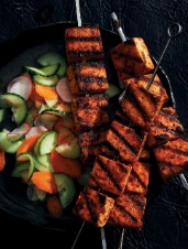 Spicy Grilled Tofu Skewers with Quick-Pickled Vegetables