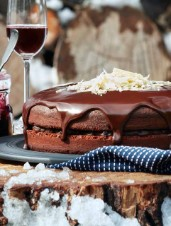 Triple-Chocolate Carrot Cake with Blueberry Compote