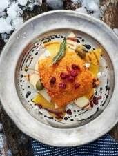 Cornflake-Crusted Arctic Char Fillet on an Apple Beet Salad