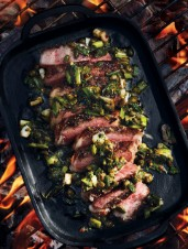 Reverse-Seared Strip Steaks with Charred Scallion Salsa