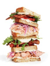 Grilled Salmon Club Sandwich with Maple Bacon