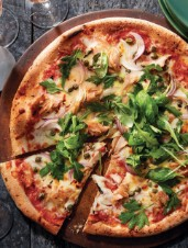 "Grilled ""Pizza al Tonno"" with Tomato & Herb Salad"