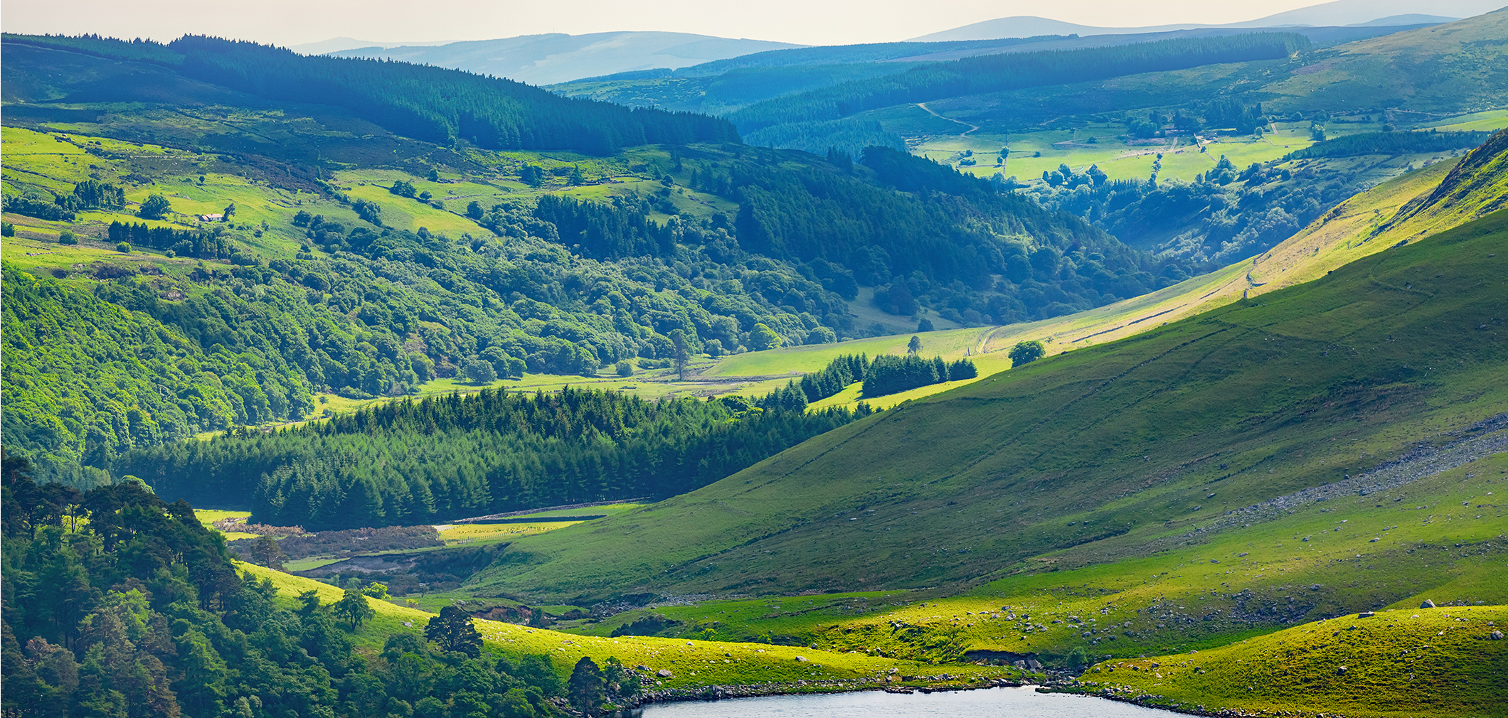 Valley in the rolling green hills of Ireland