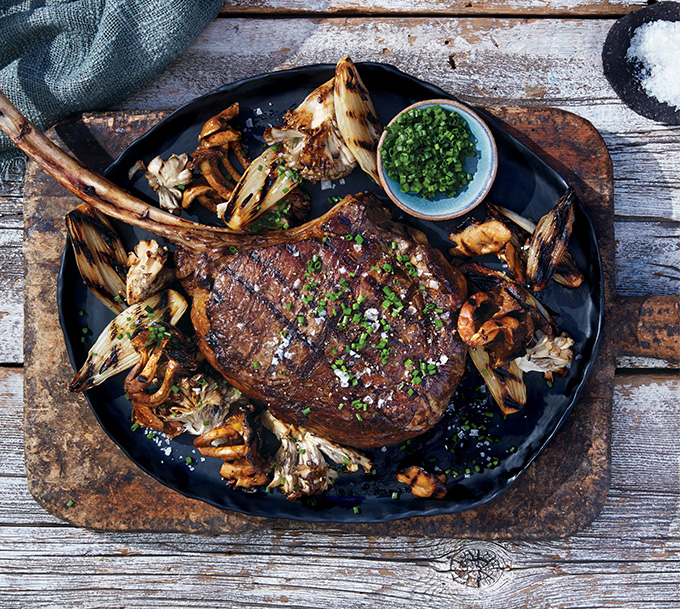 Tomahawk Steak with Grilled Wild Mushrooms
