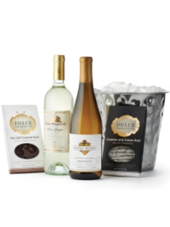 Holiday Gift Basket White Wine and Chocolate