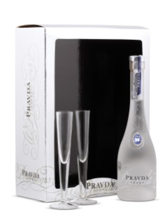 Pravda Vodka Gift Package With 2 Glasses
