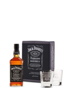 Jack Daniel's Tennessee Whiskey in Gift Tin with 2 Glasses